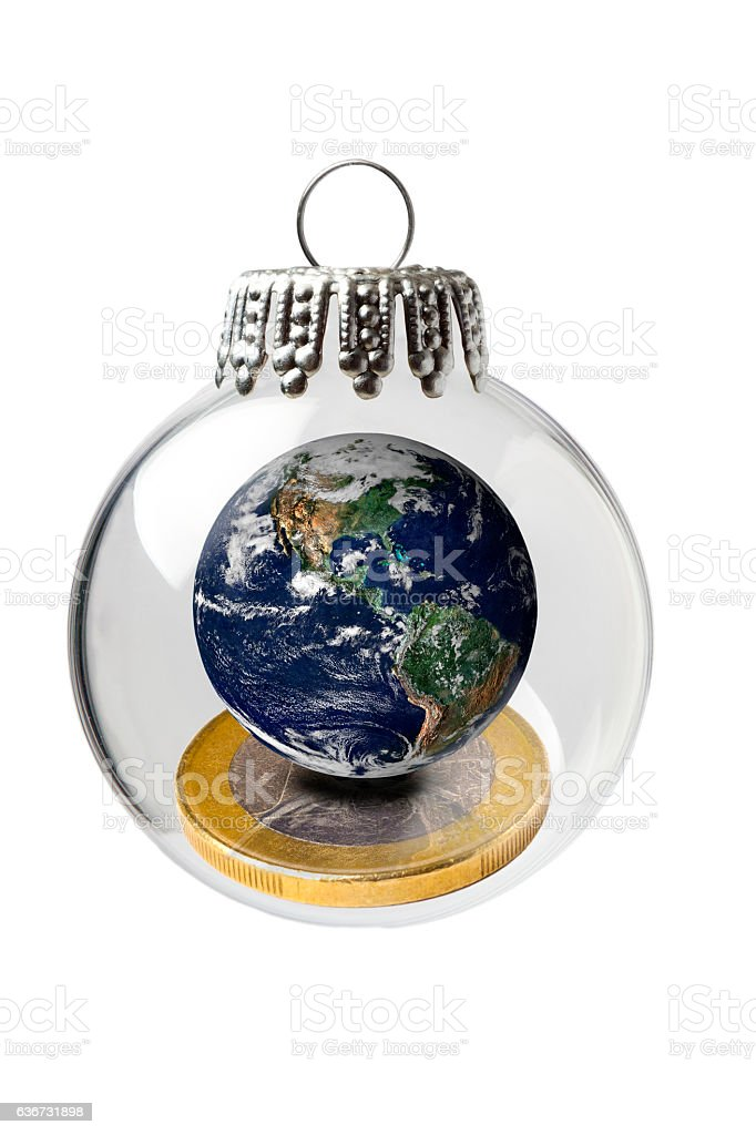 Global Business in a Christmas Ornament stock photo