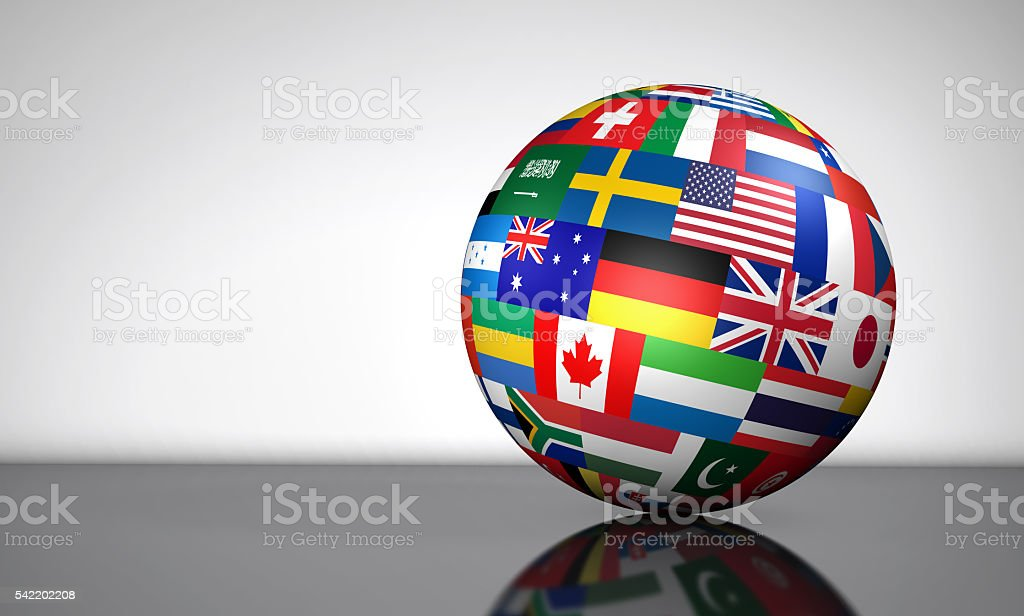 Global Business International Globe Flags stock photo