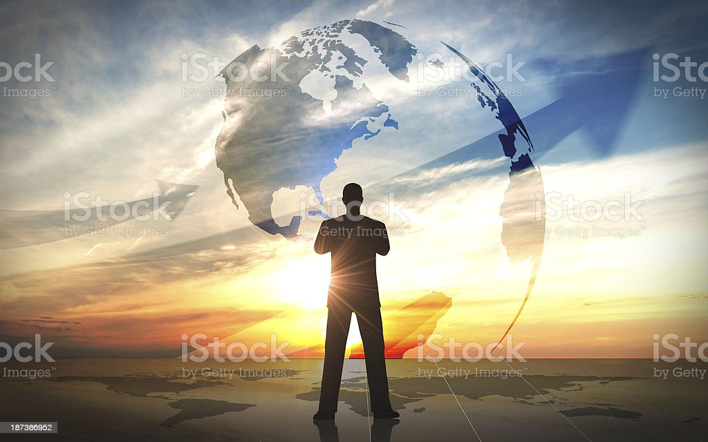 Global Business leader silhouettes royalty-free stock photo