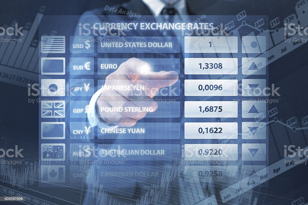 Global business: manager points currency exchange rates panel, finance data stock photo