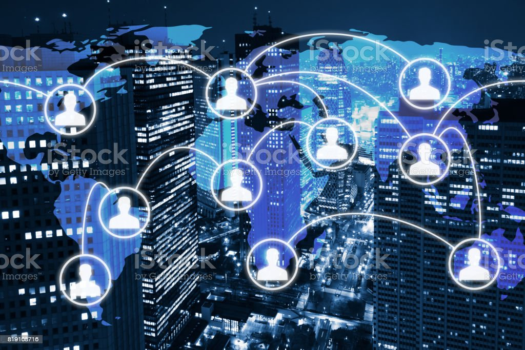 Global business network, icons of people connected, world map, city stock photo