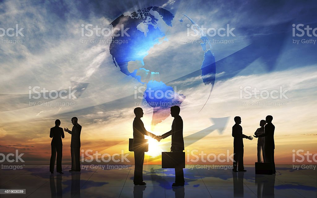 Global Business people team silhouettes royalty-free stock photo