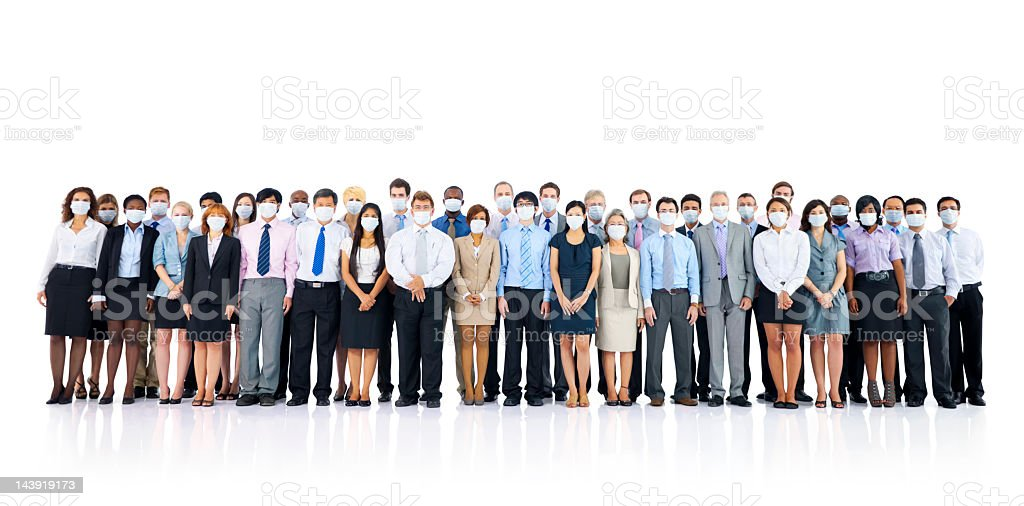 Global business people wearing masks royalty-free stock photo