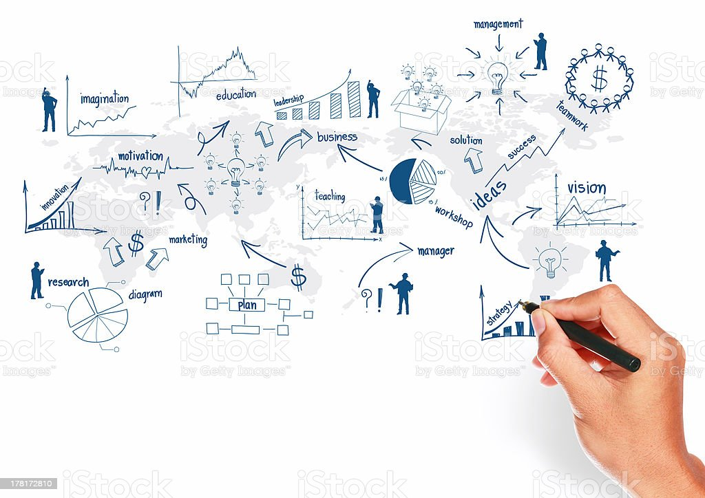 Global business plan concept drawing presentation royalty-free stock photo