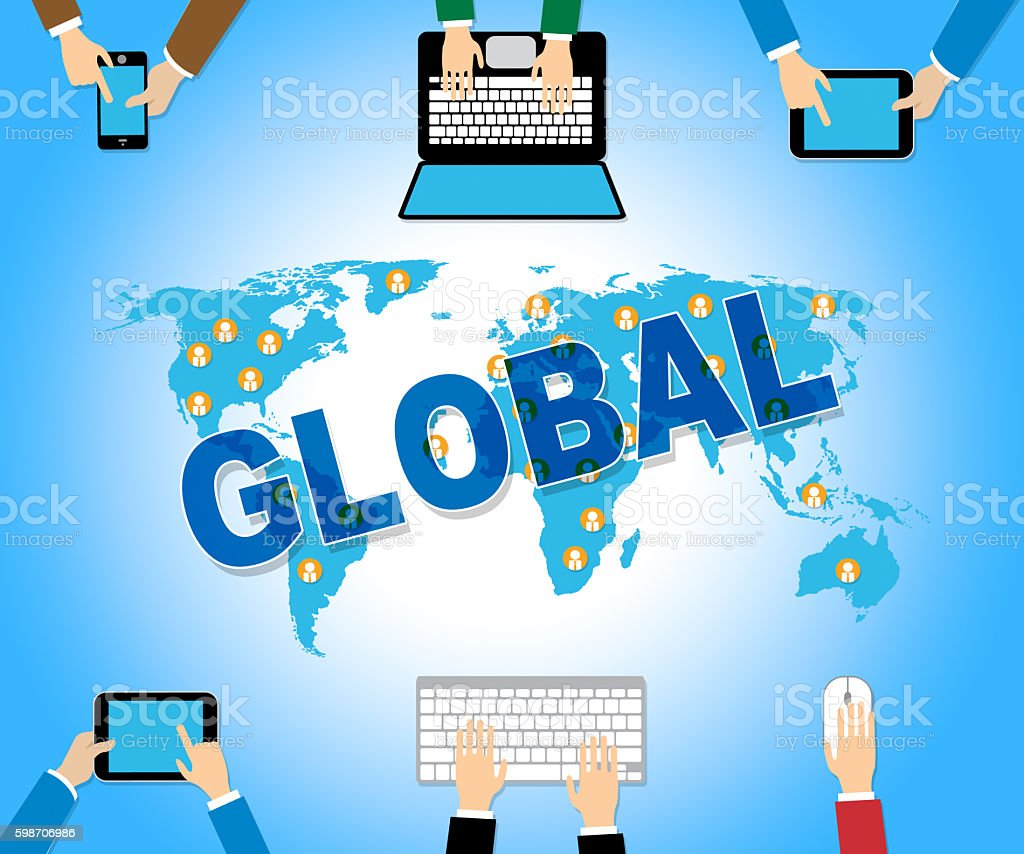 Global Business Represents Web Site And Biz stock photo