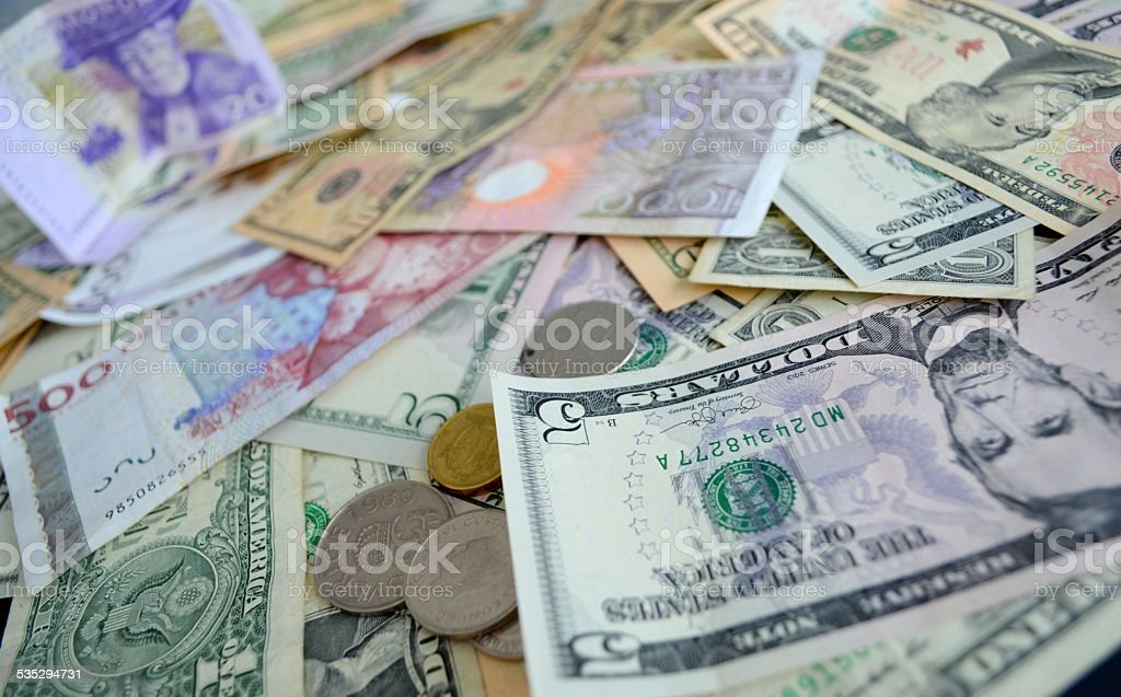 Global business. Swedish and US currency. stock photo