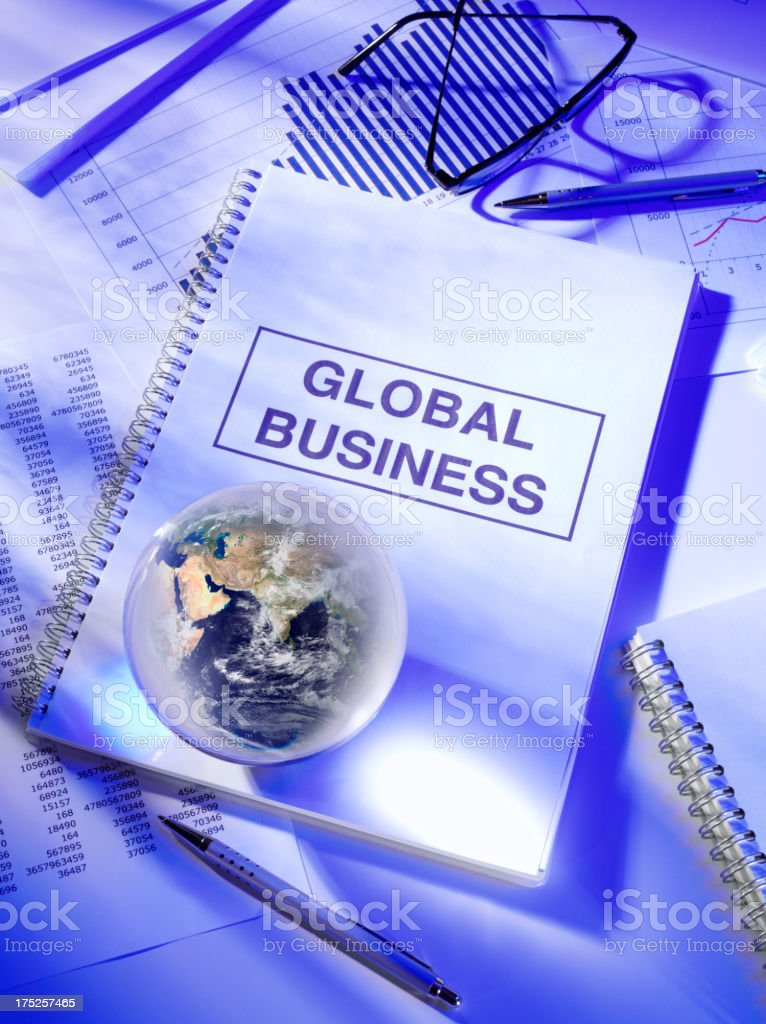Global Business Title on a Book royalty-free stock photo