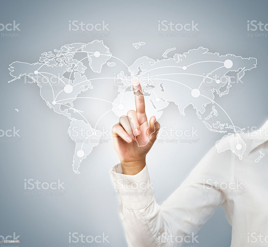 Global business / Touch screen (Click for more) stock photo