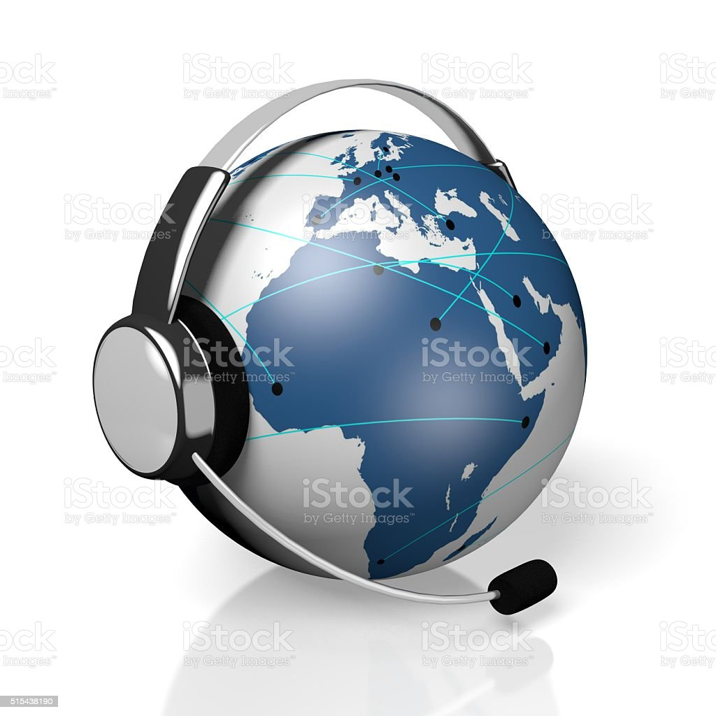 3D global call centre - headset and connection concept stock photo