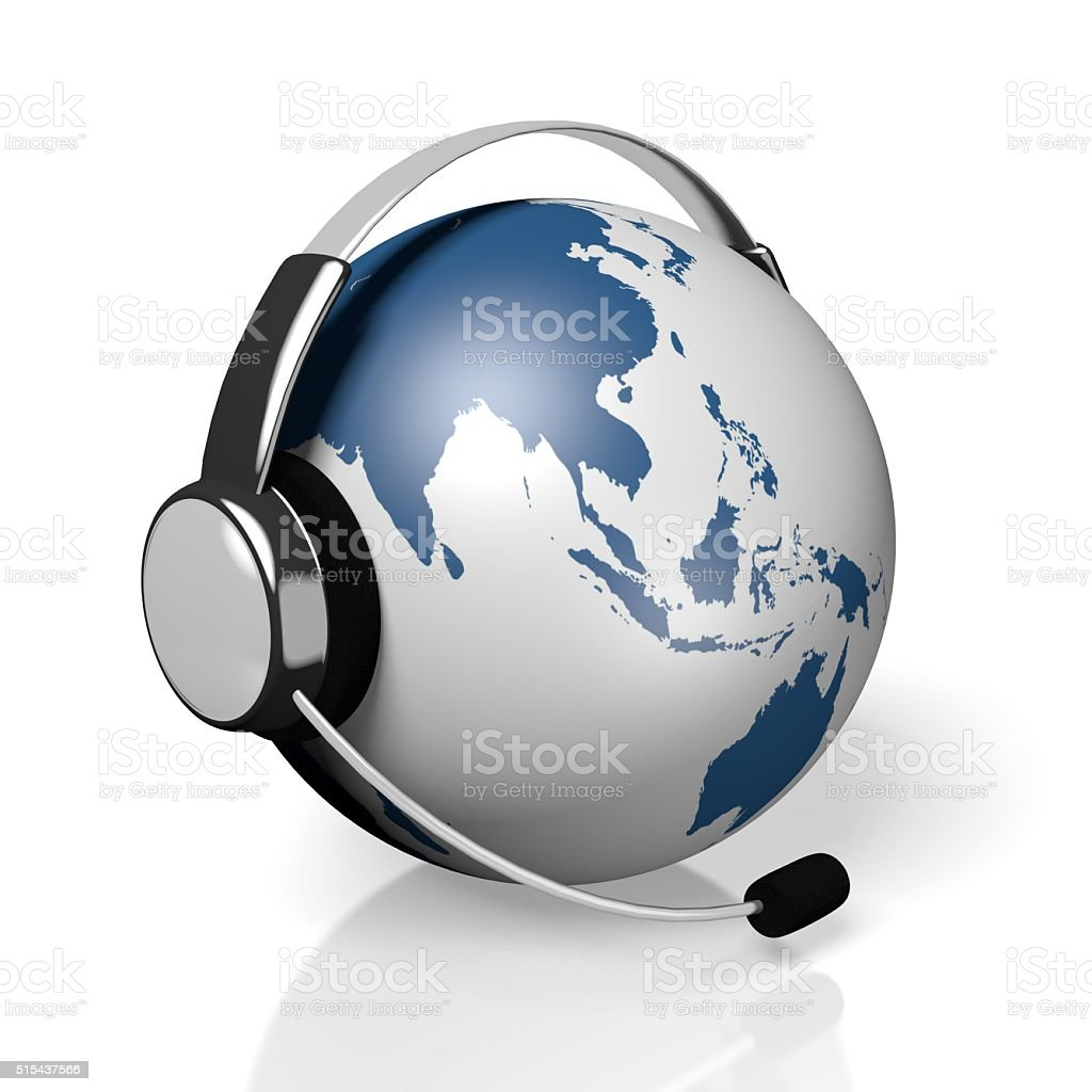 3D global call centre - headset concept stock photo