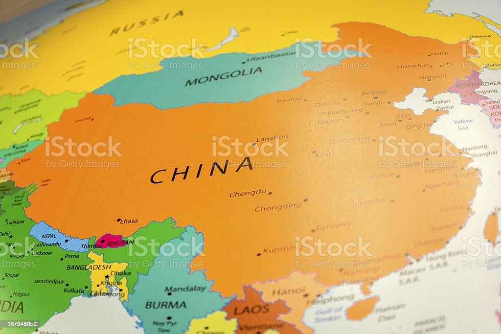 Global China on Map royalty-free stock photo