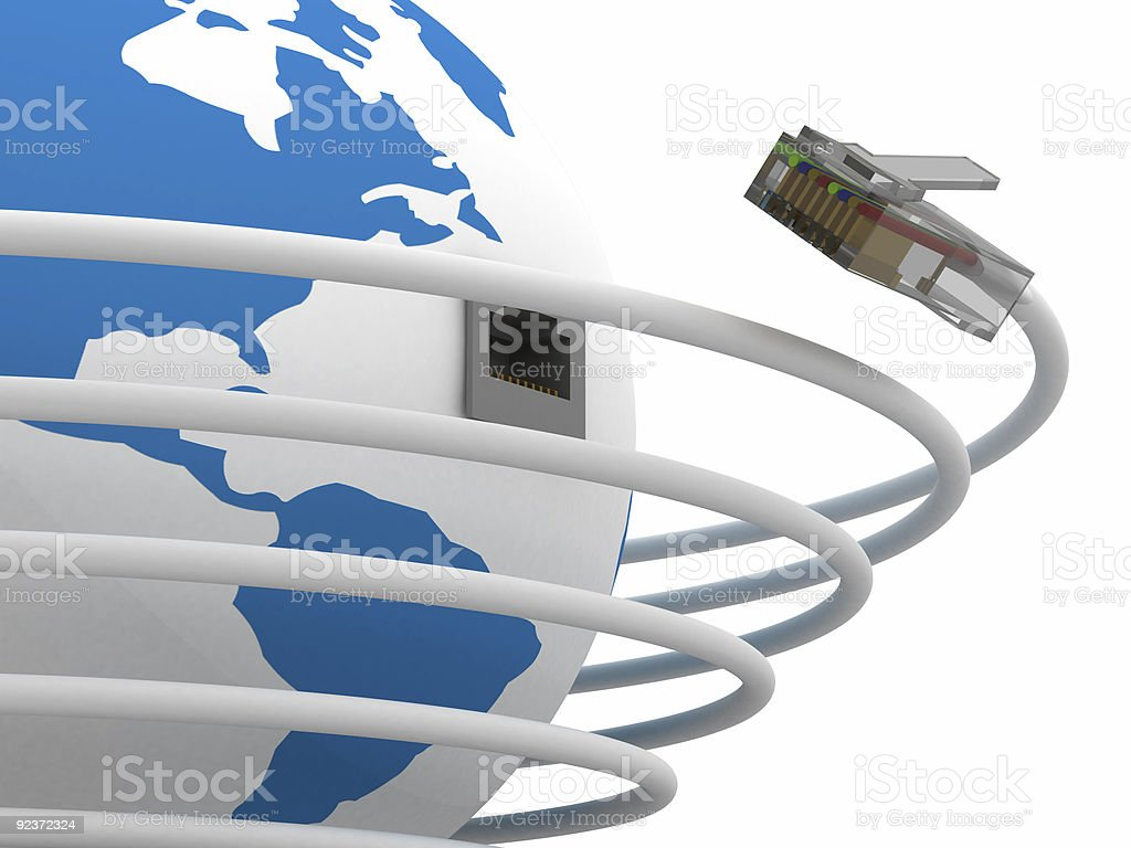 Global communication in the world. 3D image. stock photo