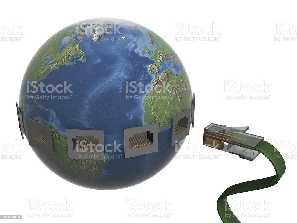 Global communication in the world. 3D image. royalty-free stock photo