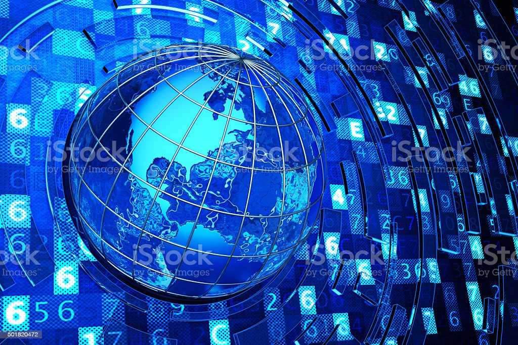 Global communication, internet and computer technology concept stock photo