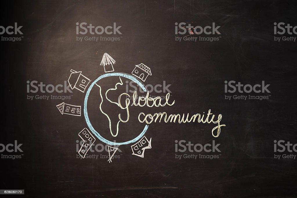 TEXT Global Community against black backdrop - Illustration stock photo