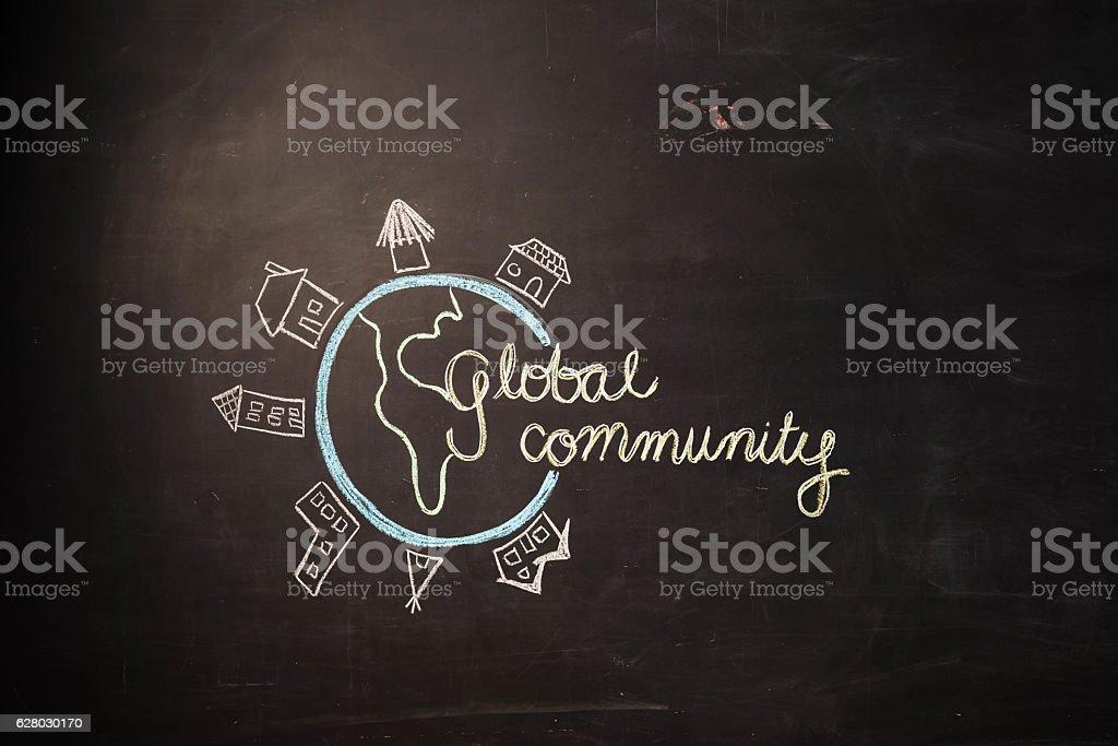 TEXT Global Community against black backdrop - Illustration stock photo