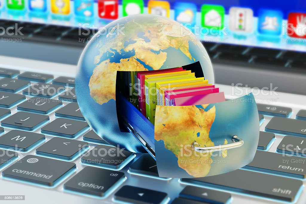 Global data storage, cloud computing service and network technology concept stock photo