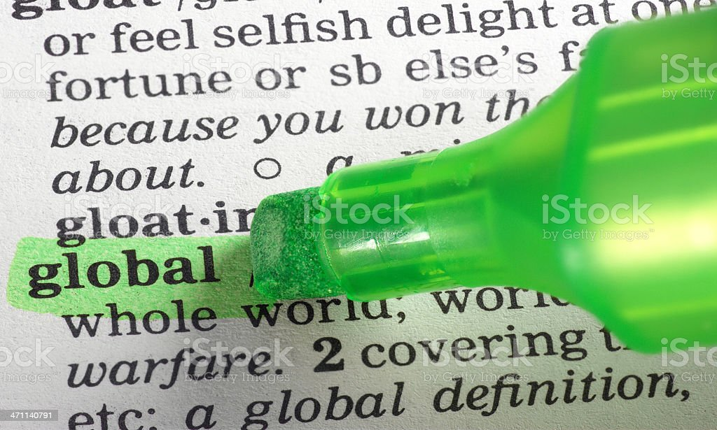 global definition highligted in dictionary stock photo