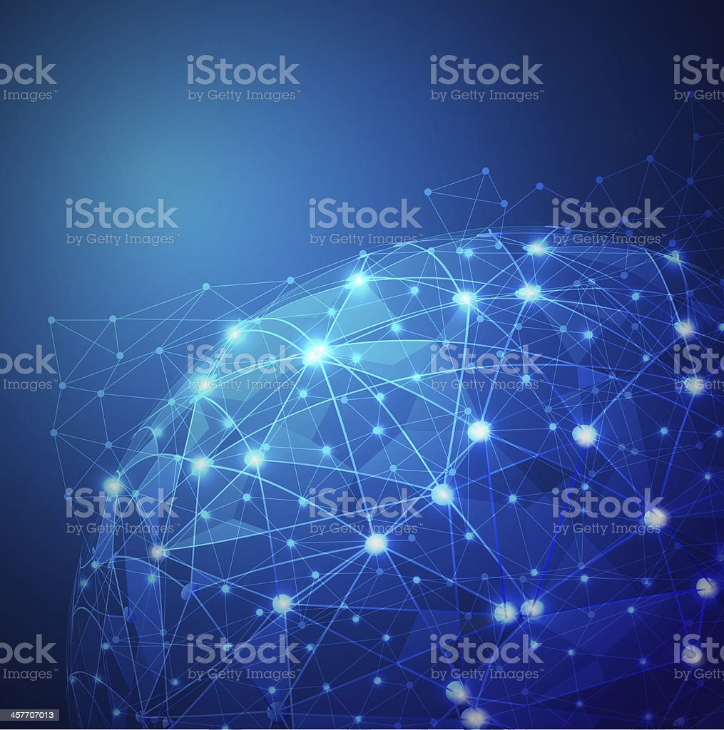 Global digital mesh network stock photo