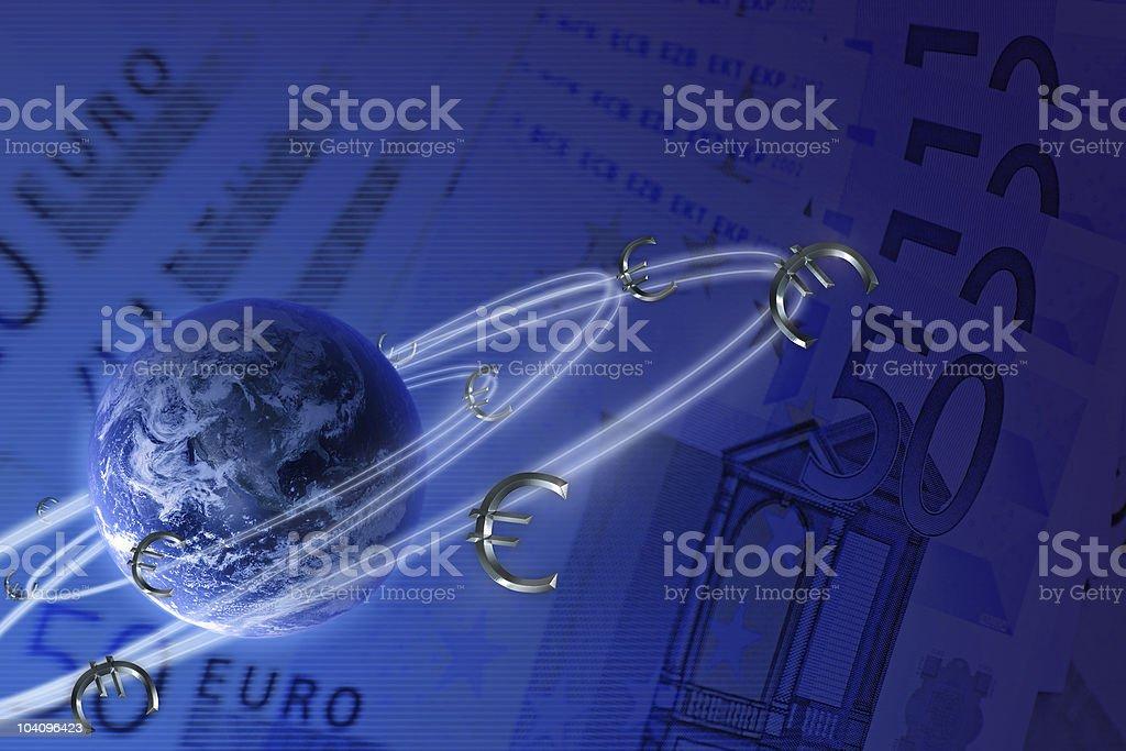 Global economy concept. Euro symbols in orbit royalty-free stock photo