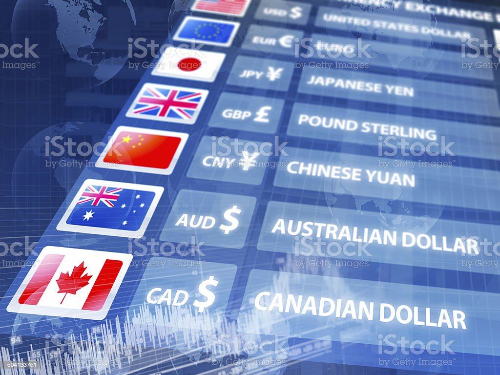 Global economy: currency exchange rates panel with data, maps, charts stock photo