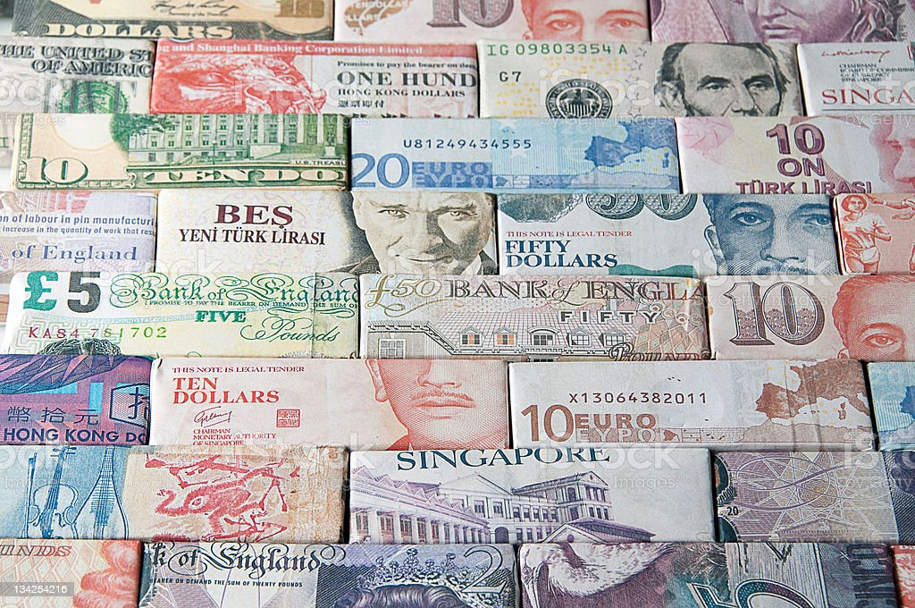 Global Finance and Banking world bank notes stock photo