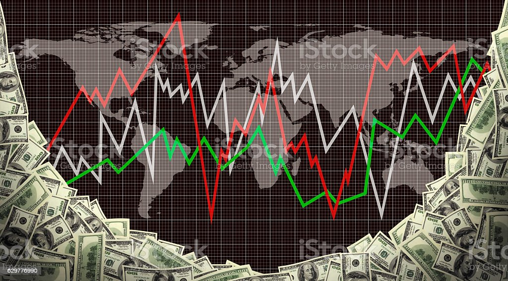 global finance chart stock photo