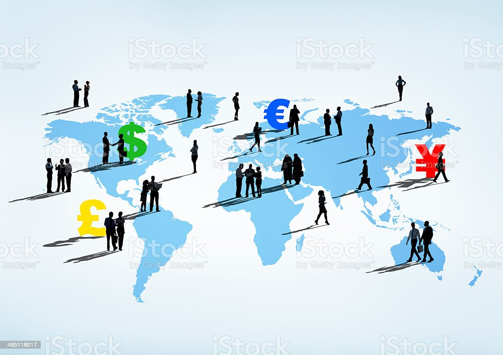 Global Finance Themed Cartography With Business People stock photo