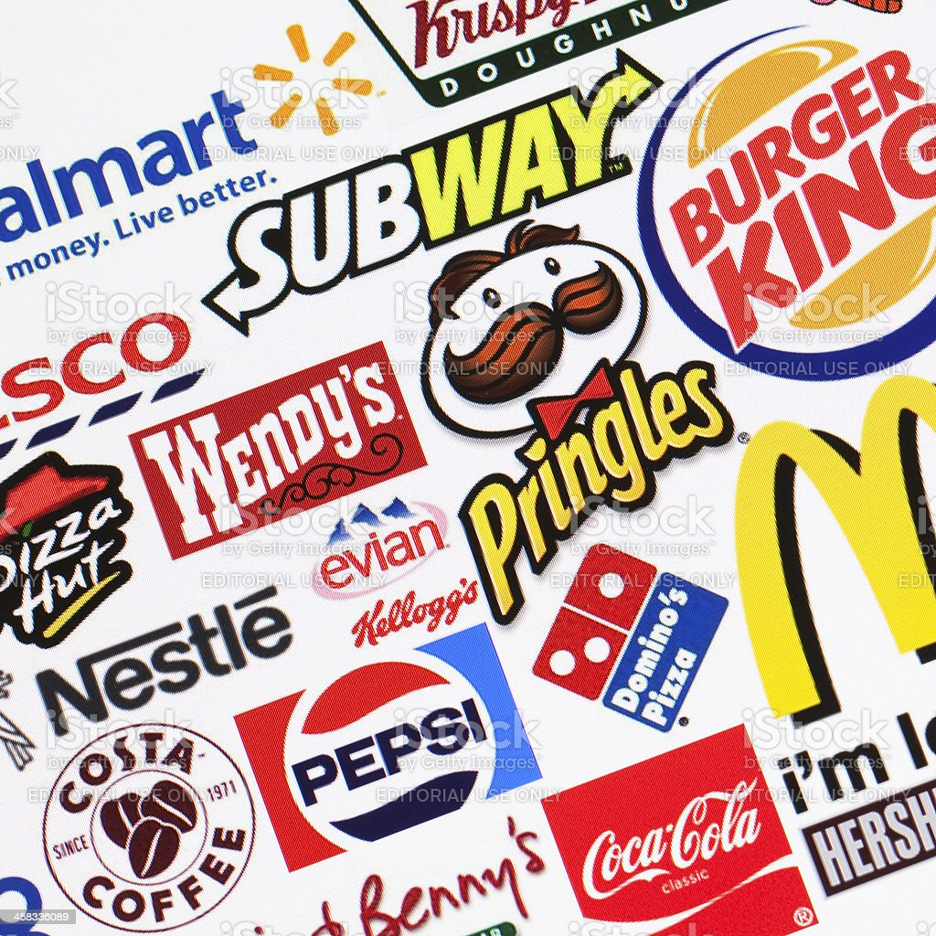 Global food brands background stock photo
