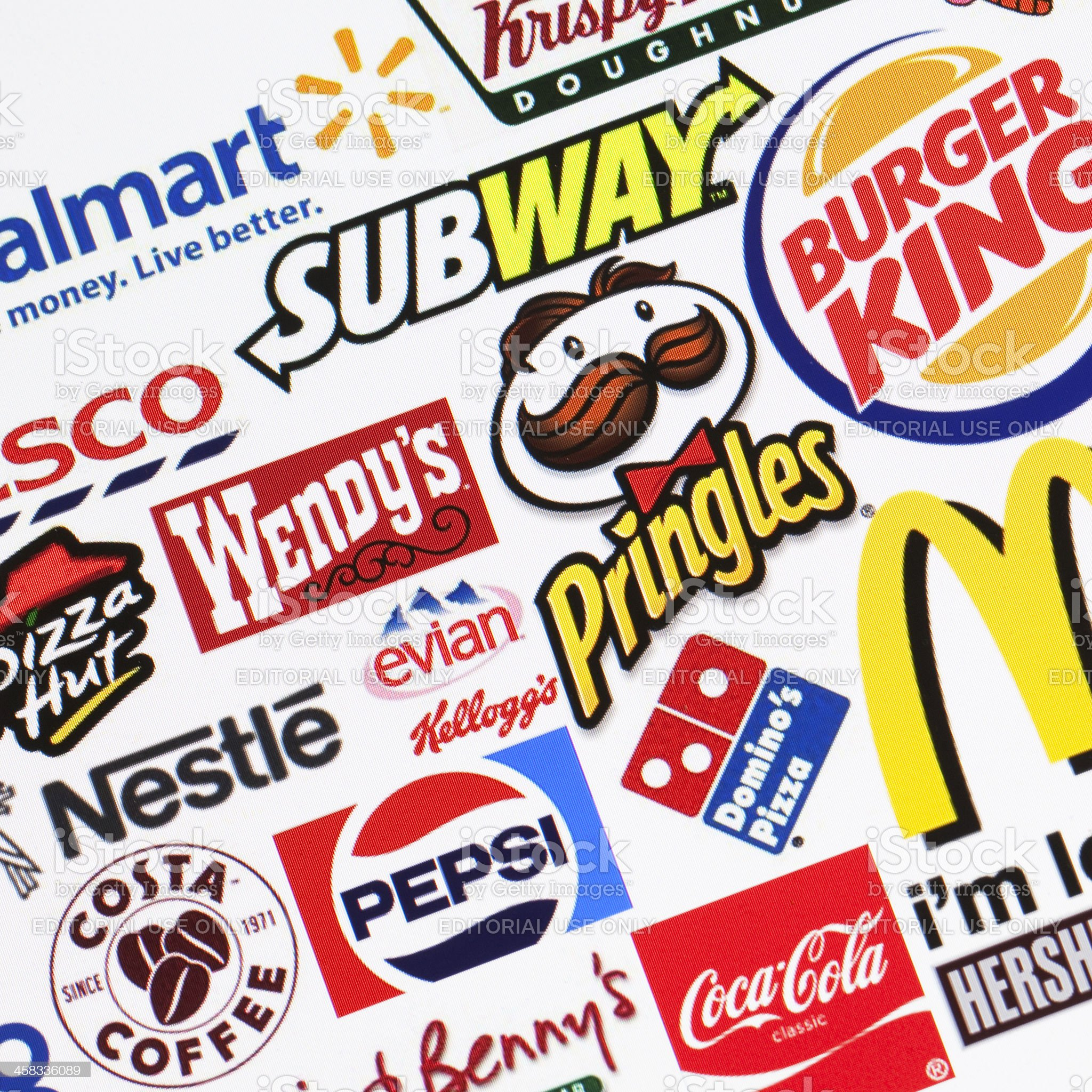 Global food brands background royalty-free stock photo