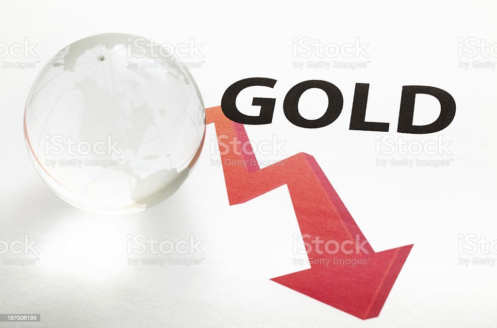 Global gold price drop concept royalty-free stock photo