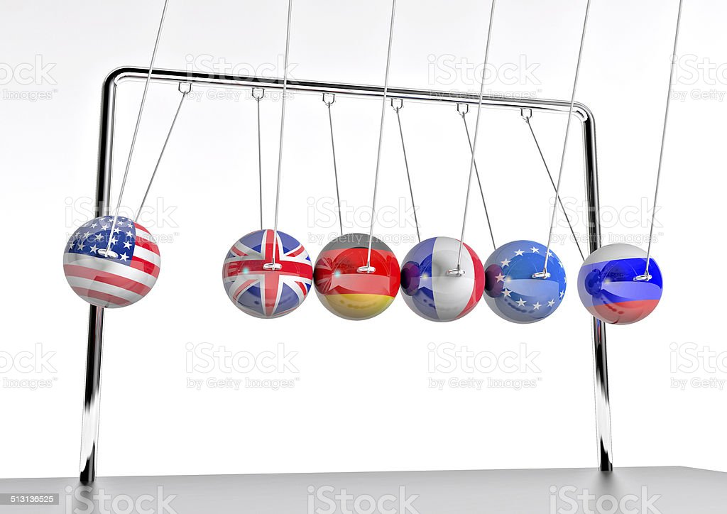 global impact shown on pendulum stock photo