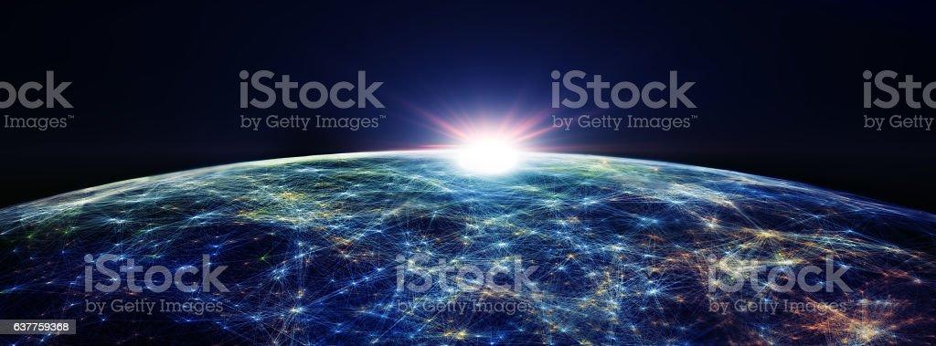 Global International Connectivity Background. 3D illustration stock photo