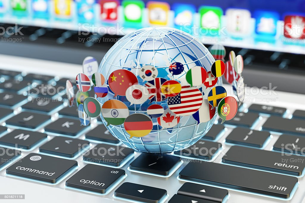 Global internet communication, online messaging and translation concept stock photo
