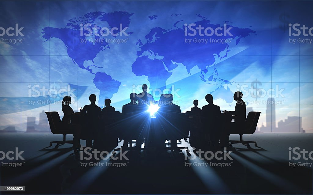 Global management  team business people meeting silhouettes stock photo
