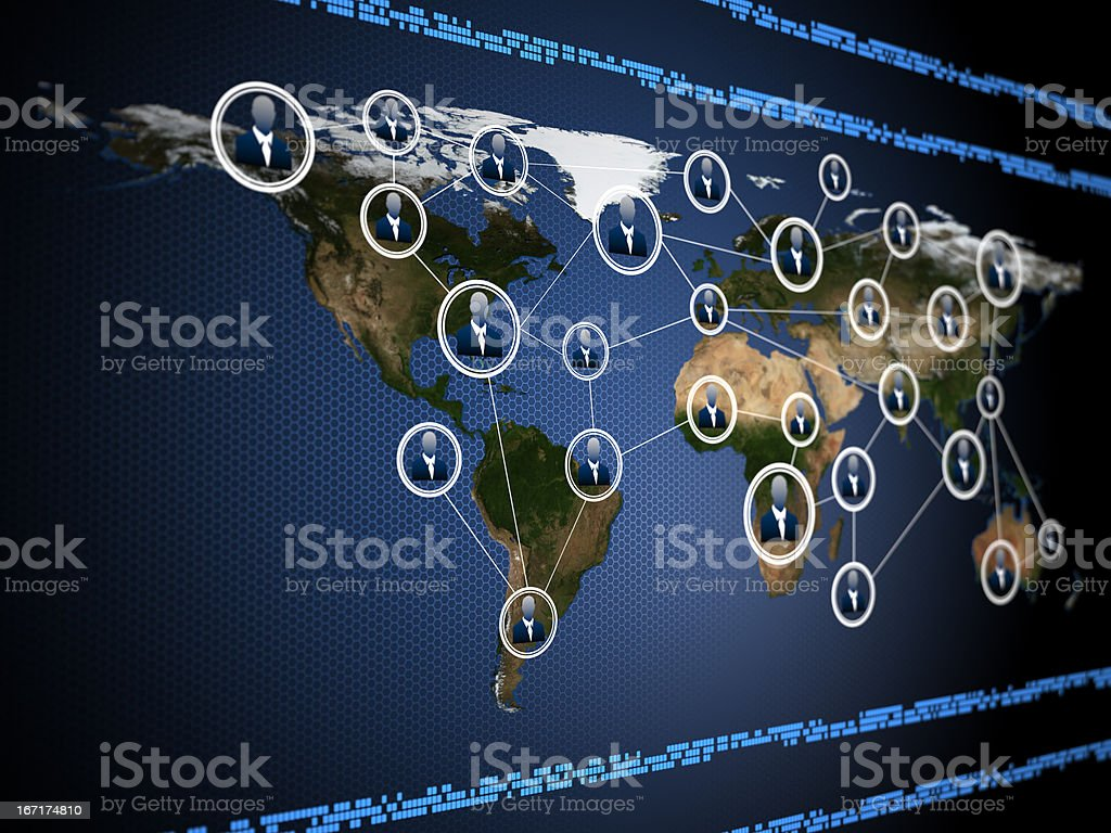 Global map superimposed with network of people royalty-free stock photo