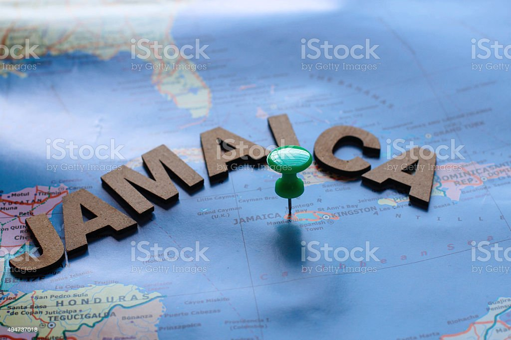 Global map with idea written on wooden alphabets stock photo