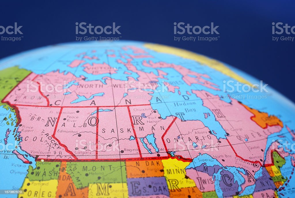global map--Canada stock photo