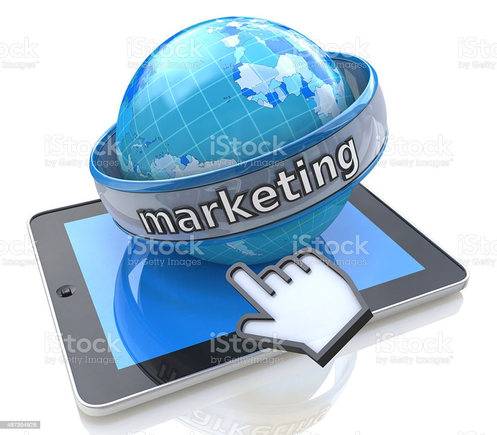 Global Marketing with tablet computer stock photo