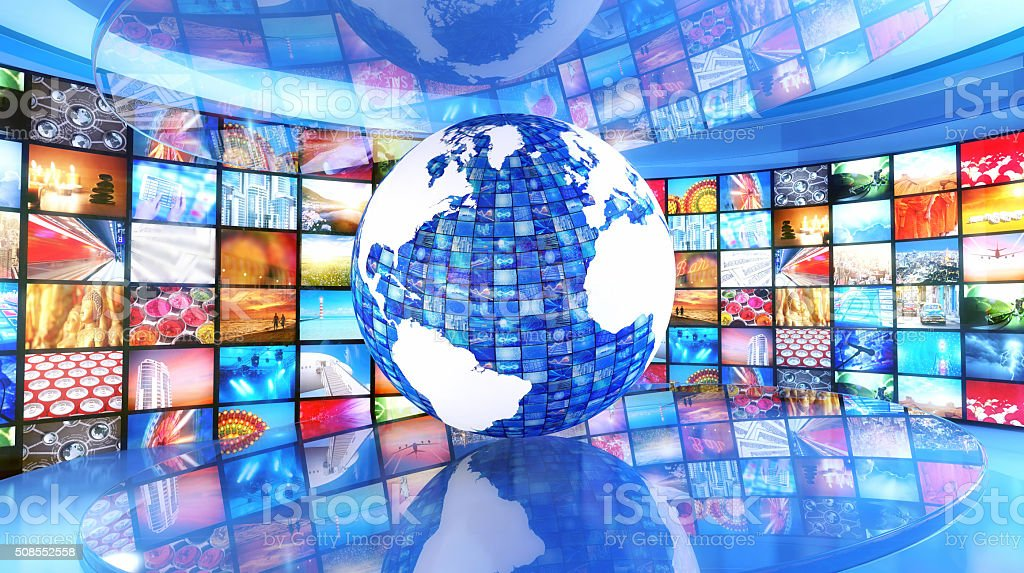 Global media and enterntainment: Earth surrounded by television images stock photo