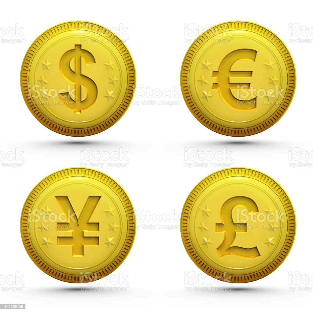 global money golden coins isolated on white stock photo