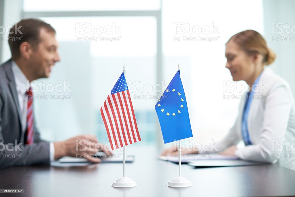 Global negotiations stock photo