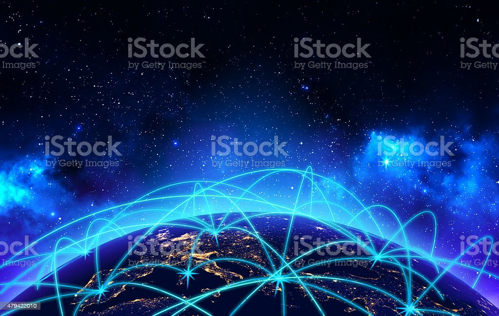 Global network connection and business communication concept stock photo