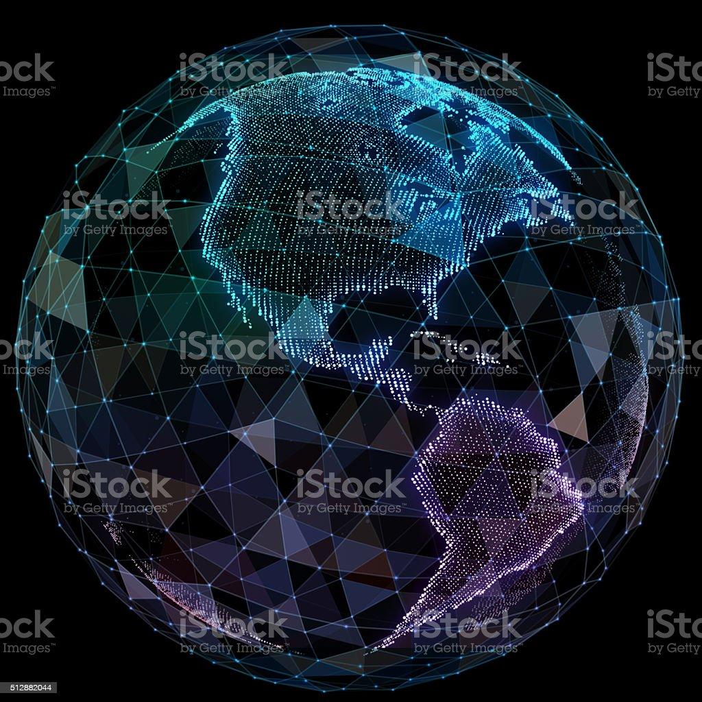 Global network internet technologies. Digital world map stock photo