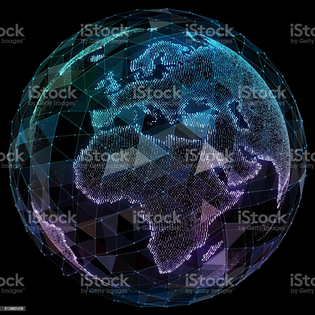 Global network internet technologies. Digital world map stock photo