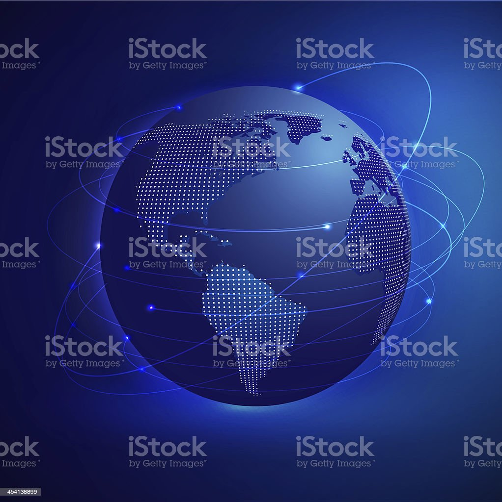 Global network mesh with world map stock photo