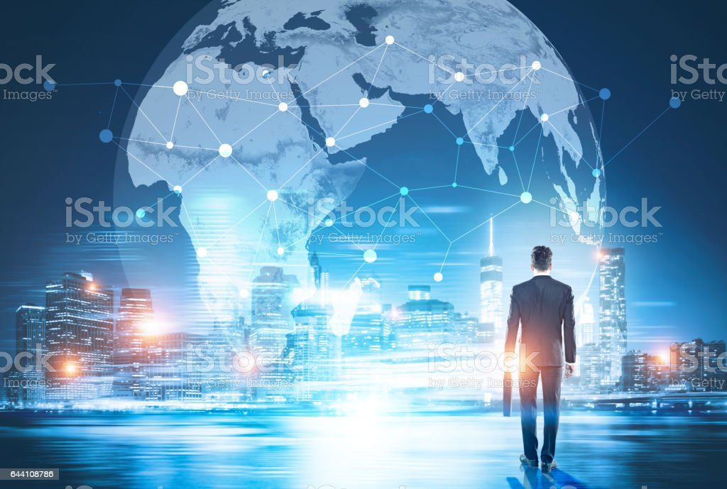 Global networking and business stock photo