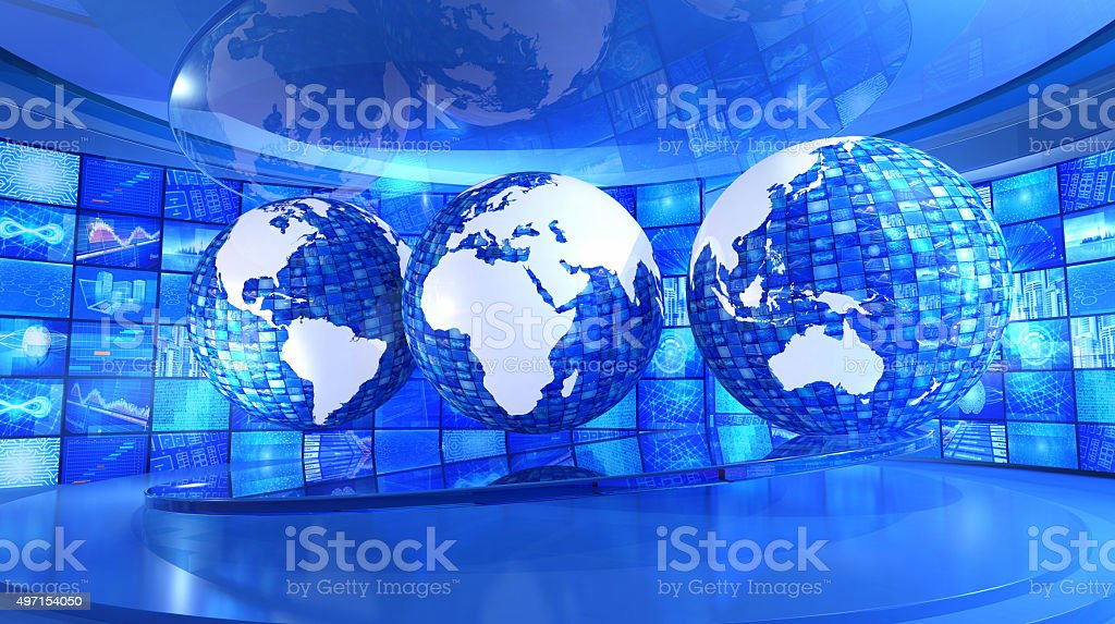 Global news and economy: world map surrounded by television images stock photo