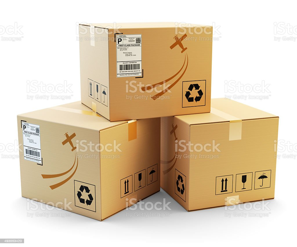 Global packages delivery and parcels transportation concept stock photo