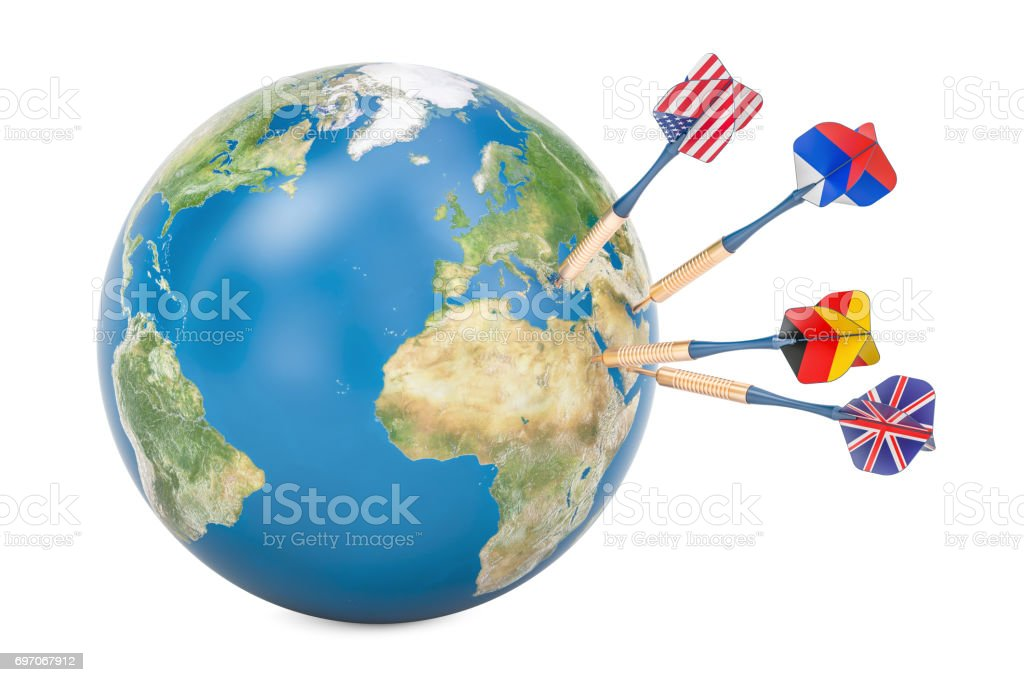 Global politic and political target concept, 3D rendering stock photo
